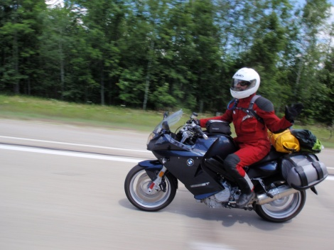 Do bin ich uff meim Motorcycle in Michigan.