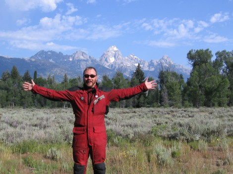 Ich un der Grand Tetons in Wyoming.