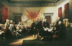 Der Thomas Jefferson un de annere Daadis vun unser Land in Tschulei 1776. Selle Babier hot alles aagfangt.