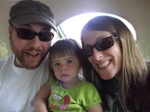 Ich, die Estella, un mei Fraa uff en Ride bei Knoebels Amusement Park.