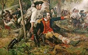 Herkimer uff em Schlacht vun Oriskany, Aaguscht 6, 1777.
