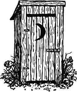 An old-fashioned outhouse